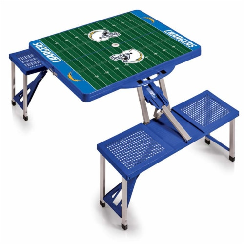 Los Angeles Chargers - Picnic Table Portable Folding Table with Seats Perspective: front