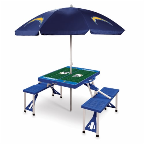 Los Angeles Chargers - Picnic Table Folding Table with Seats and Umbrella Perspective: front