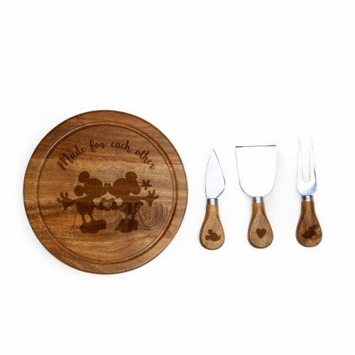 Disney Mickey & Minnie Mouse - Acacia Brie Cheese Cutting Board & Tools Set, Acacia Wood Perspective: front