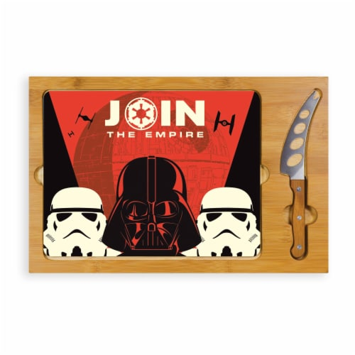 Star Wars Empire - Icon Glass Top Cutting Board & Knife Set, Rubberwood & Bamboo Perspective: front