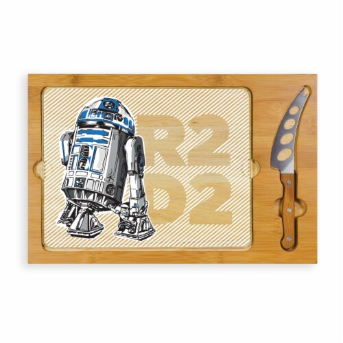 Star Wars R2-D2 - Icon Glass Top Cutting Board & Knife Set, Rubberwood & Bamboo Perspective: front