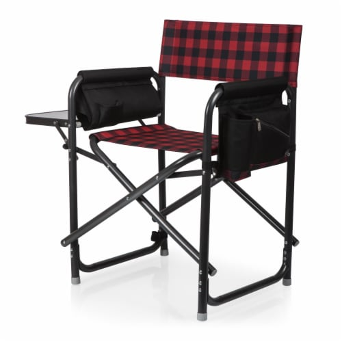 Outdoor Directors Folding Chair, Red & Black Buffalo Plaid Pattern Perspective: front