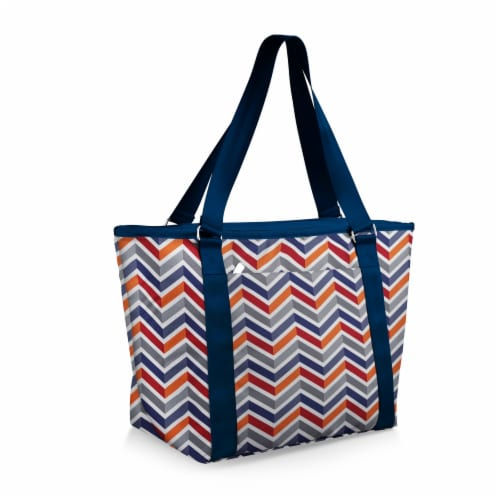 Topanga Cooler Tote Bag, Vibe Collection - Navy Blue, Orange, & Gray Pattern Perspective: front