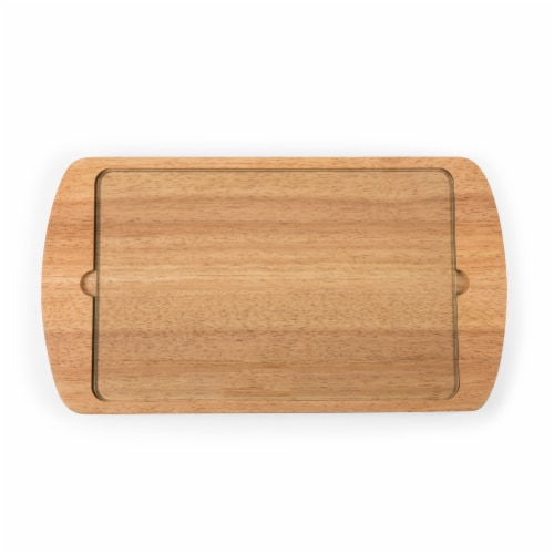 Billboard Glass Top Serving Tray, Rubberwood Perspective: front