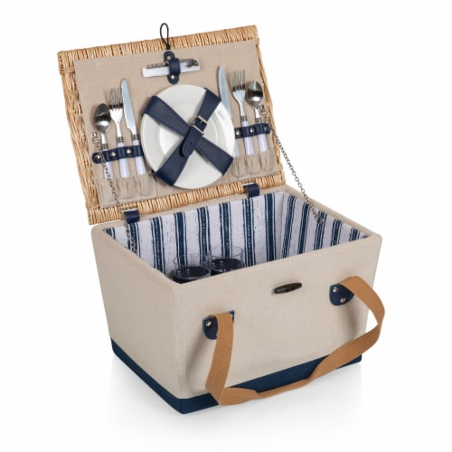 Boardwalk Picnic Basket, Beige Canvas with Navy Blue Accents Perspective: front