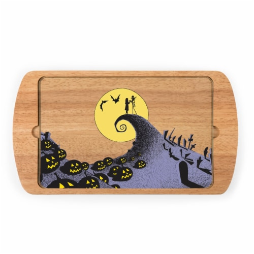 Disney Nightmare Before Christmas Jack & Sally - Billboard Glass Top Serving Tray, Rubberwood Perspective: front
