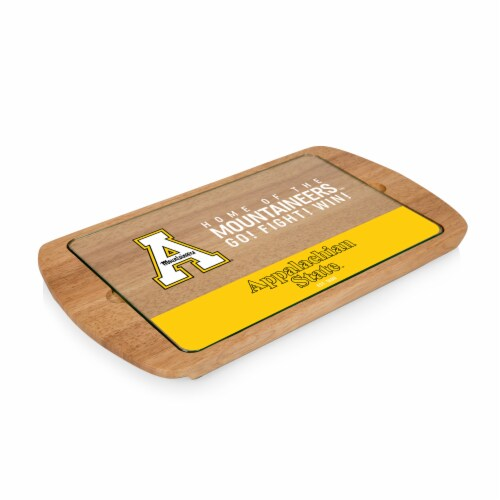 App State Mountaineers - Billboard Glass Top Serving Tray Perspective: front