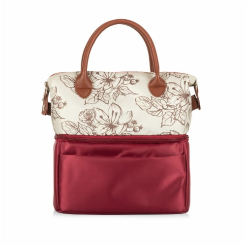 Urban Lunch Bag, Burgundy with Floral Pattern Perspective: front