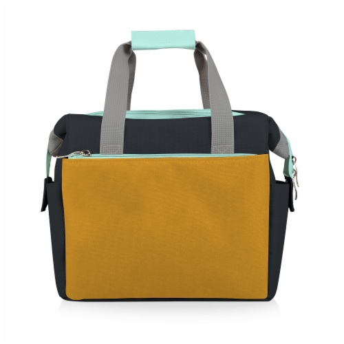 On The Go Lunch Cooler, Mustard Yellow with Gray & Blue Accents Perspective: front