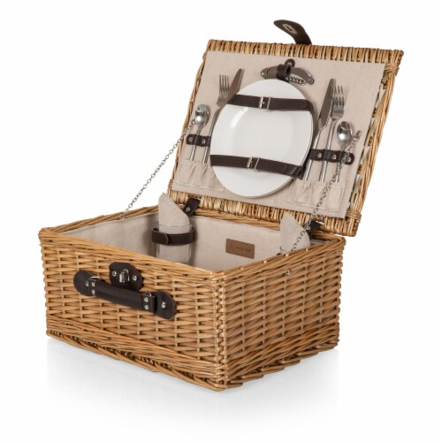 Classic Picnic Basket, Beige Canvas Perspective: front
