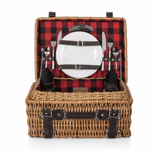 Champion Picnic Basket, Red & Black Buffalo Plaid Pattern Perspective: front