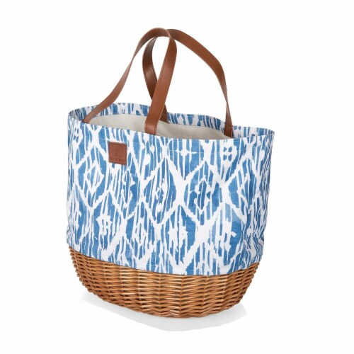 Coronado Canvas and Willow Basket Tote, Moroccan Watercolor Pattern Perspective: front
