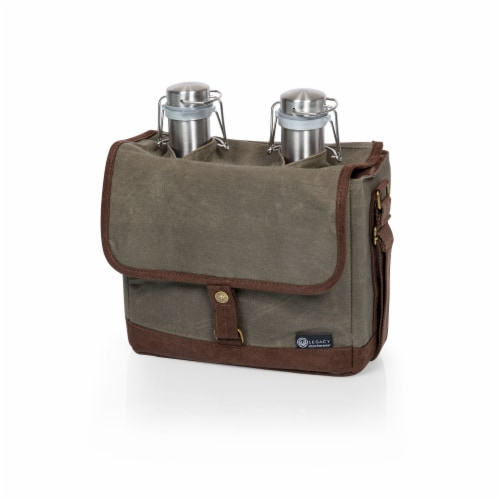 Insulated Double Growler Tote with 64 oz. Stainless Steel Growlers, Khaki Green Perspective: front