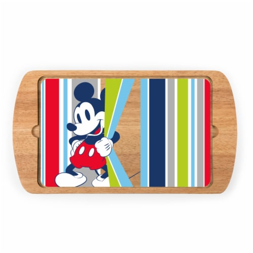 Disney Mickey Mouse - Billboard Glass Top Serving Tray, Rubberwood Perspective: front