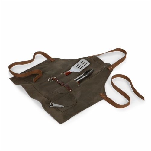 BBQ Apron with Tools & Bottle Opener, Khaki Green with Beige Accents Perspective: front