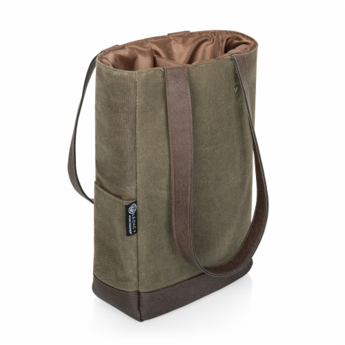 2 Bottle Insulated Wine Cooler Bag, Khaki Green with Beige Accents Perspective: front