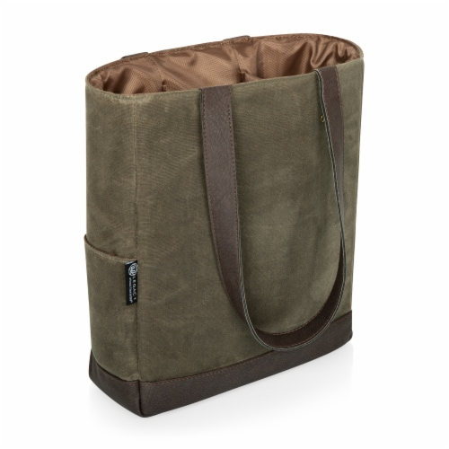 3 Bottle Insulated Wine Cooler Bag, Khaki Green with Beige Accents Perspective: front