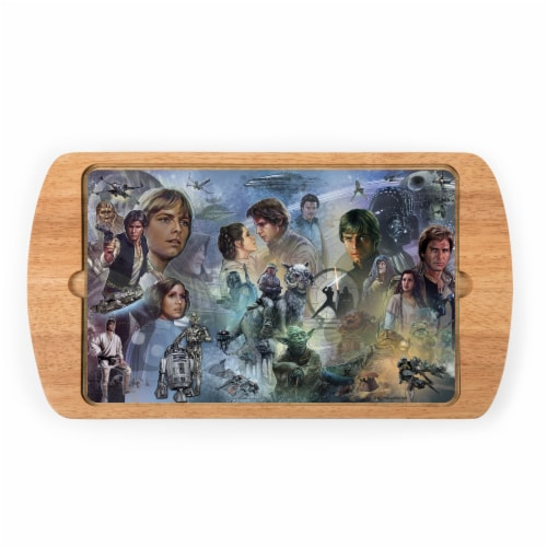 Star Wars - Billboard Glass Top Serving Tray, Rubberwood Perspective: front
