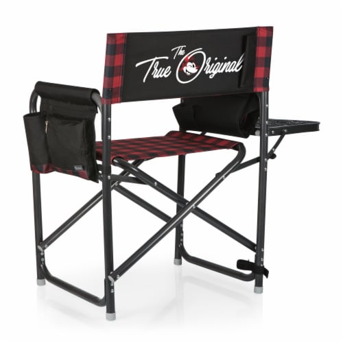 Disney Mickey Mouse - Outdoor Directors Folding Chair, Red & Black Buffalo Plaid Pattern Perspective: front