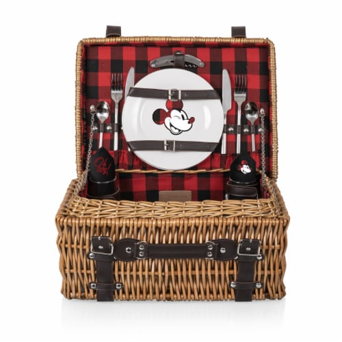 Disney Mickey Mouse - Champion Picnic Basket, Red & Black Buffalo Plaid Pattern Perspective: front