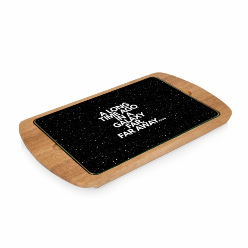 Star Wars Scroll - Billboard Glass Top Serving Tray, Rubberwood Perspective: front
