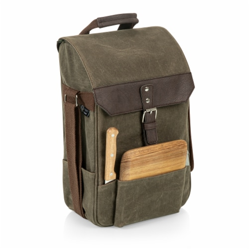 2 Bottle Insulated Wine & Cheese Cooler with Cheese Board, Knife & Corkscrew, Khaki Green Perspective: front