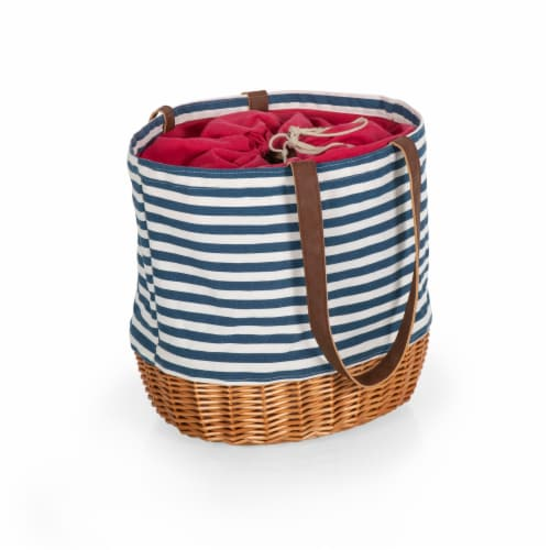 Coronado Canvas and Willow Basket Tote, Navy Blue & White Stripe Perspective: front