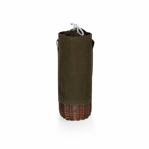 Malbec Insulated Canvas and Willow Wine Bottle Basket, Khaki Green with Beige Accents Perspective: front