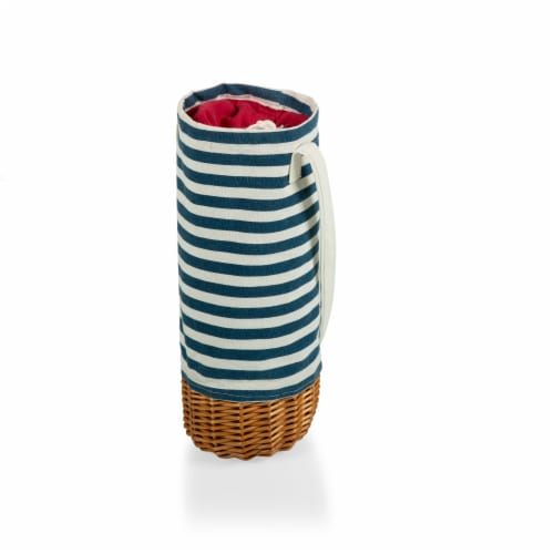 Malbec Insulated Canvas and Willow Wine Bottle Basket, Navy Blue & White Stripe Perspective: front