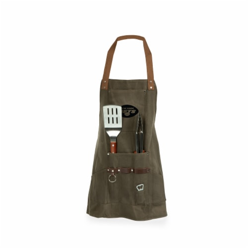 New York Jets - BBQ Apron with Tools & Bottle Opener Perspective: front