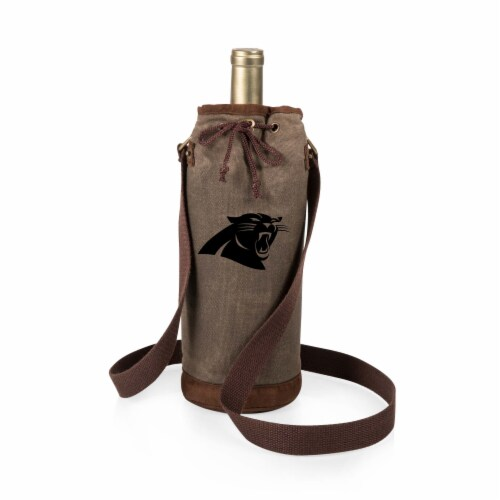 Carolina Panthers - Waxed Canvas Wine Tote Perspective: front
