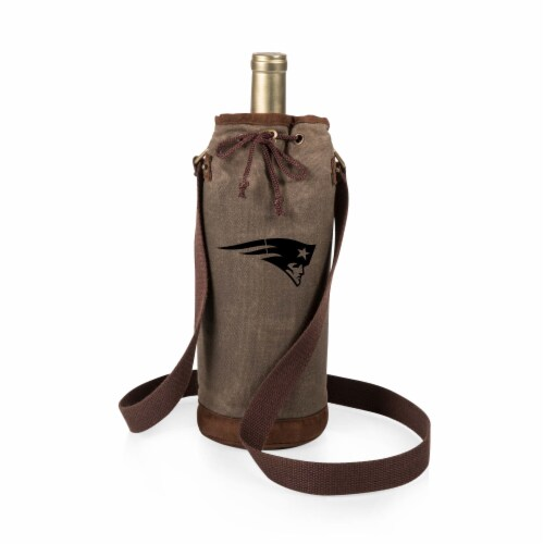 New England Patriots - Waxed Canvas Wine Tote Perspective: front