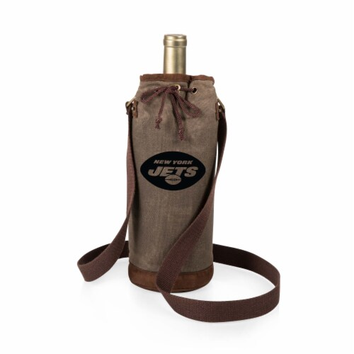 New York Jets - Waxed Canvas Wine Tote Perspective: front