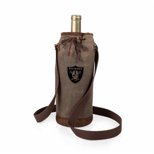 Las Vegas Raiders - Waxed Canvas Wine Tote Perspective: front