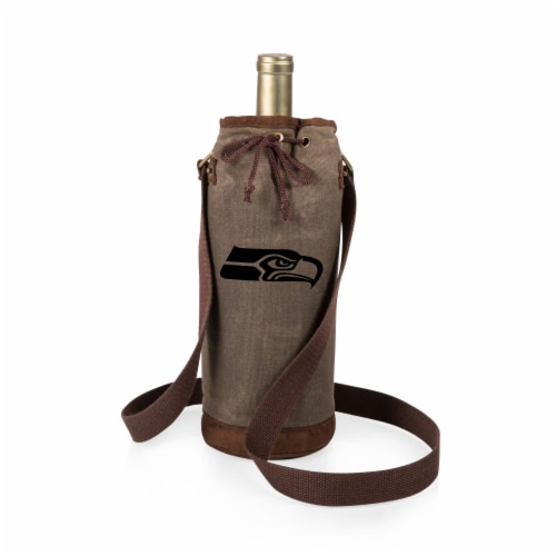 Seattle Seahawks - Waxed Canvas Wine Tote Perspective: front