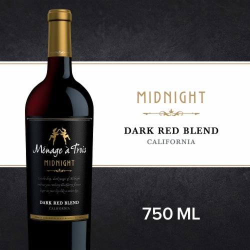 Menage a Trois Midnight Dark Red Wine Blend 750mL Wine Bottle Perspective: front