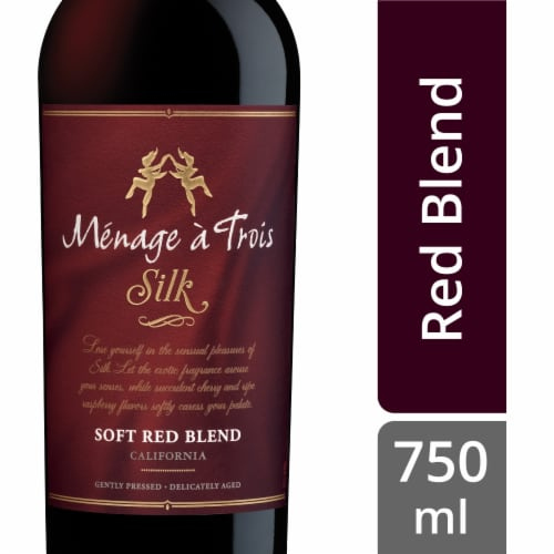 Menage a Trois Silk Soft Red Blend Wine Perspective: front