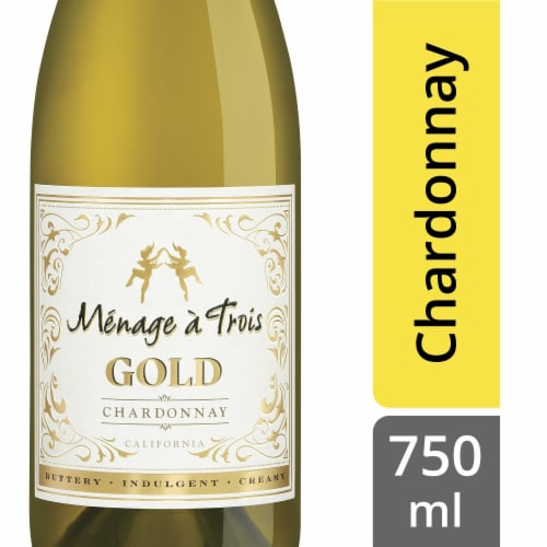 Menage a Trois Gold Chardonnay White Wine Perspective: front