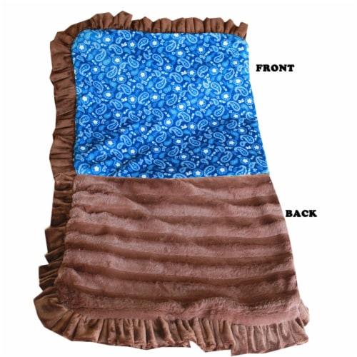 Mirage Pet 500-129 BlWtFL Luxurious Plush Pet Blanket, Blue Western - Full Size Perspective: front