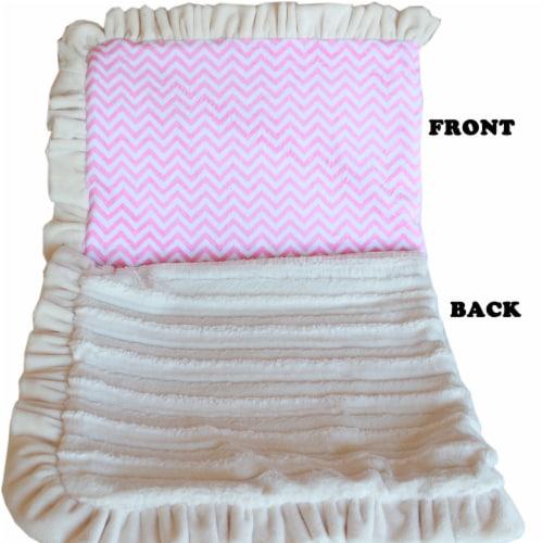 Mirage Pet 500-130 PkChFL Luxurious Plush Pet Blanket, Pink Chevron - Full Size Perspective: front