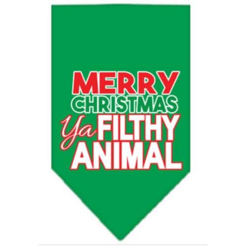 Ya Filthy Animal Screen Print Pet Bandana Emerald Green Size Large Perspective: front