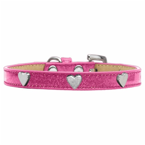 Mirage Pet Products Silver Heart Widget Dog Collar Ice Cream Perspective: front