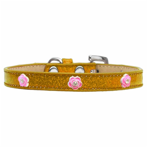 Mirage Pet Products Bright Pink Rose Widget Dog Collar Ice Cream Perspective: front