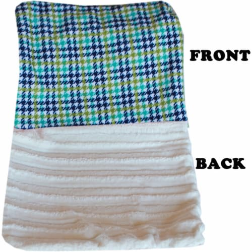 Luxurious Plush Itty Bitty Baby Blanket Black Chevron Perspective: front