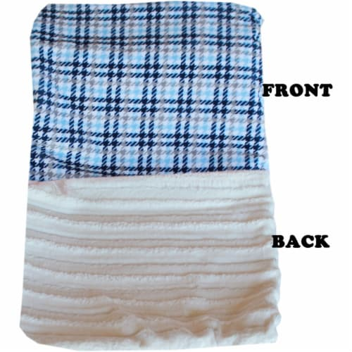 Luxurious Plush Itty Bitty Baby Blanket Pink Plaid Perspective: front