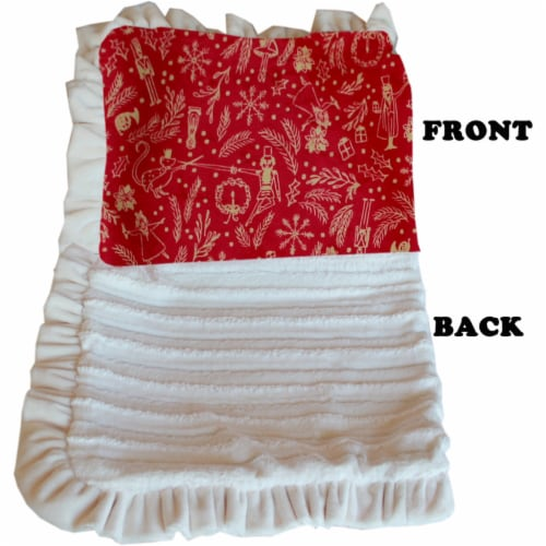 Mirage Pet 500-154 RHWHL Luxurious Plush Pet Blanket Red Holiday Whimsy - Size 0.5 Perspective: front