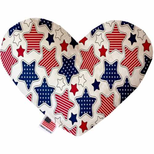 Patriotic Stars 6 Inch Heart Dog Toy Perspective: front
