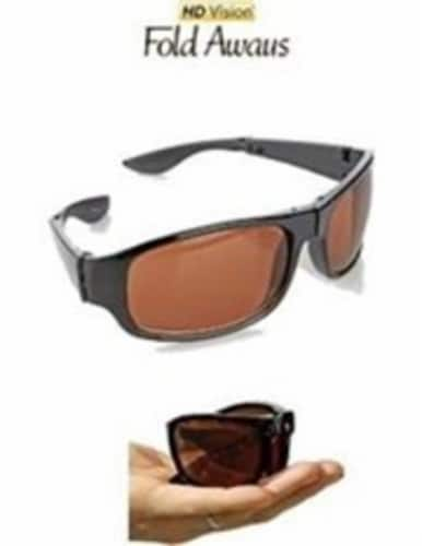 HD Vision Fold Aways Sunglasses Deluxe- Single (Black) Perspective: front