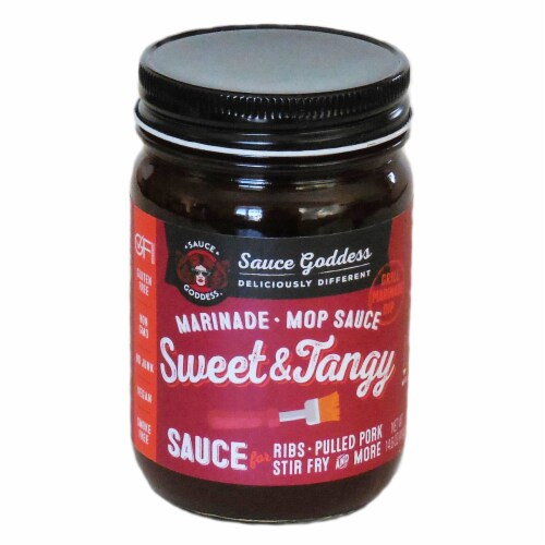 Sauce Goddess Sweet and Tangy Marinade and Mop Sauce Perspective: front