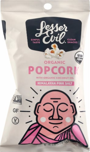 LesserEvil Buddha Bowl Foods Himalayan Pink Salt Organic Popcorn Perspective: front